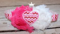 Valentine's Day Headband Shabby Chic by LaBandeauxBowtique on Etsy