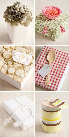 Beautiful gift wrapping. I love the one with the spoon, it would be great for a cook book