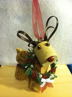 Wine Cork craft reindeer holiday Christmas ornament on Etsy, $6.00