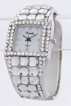 Obsessed!  Jeweled Cuff Watch Crystal