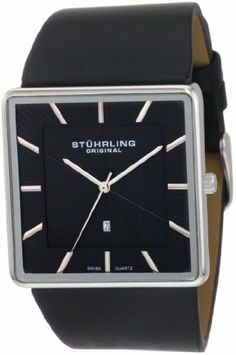 Stuhrling Original Men's 342.33151 Classic Ascot Saratoga Swiss Quartz Ultra Slim Date Black Leather Strap Watch Stuhrling Original. $99.00. Precise Swiss Quartz Movement. Black genuine leather strap with stainless steel buckle. Black dial with silvertone markers and date window. Water-resistant to 165 feet (50 M). Polished stainless steel square ultra slim case with protective Krysterna crystal. Save 70% Off!
