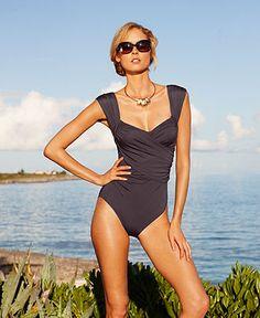 Badgley Mischka Swimsuit, Surplice Over The Shoulder Draped Front One Piece - Womens Swimwear - Macy's