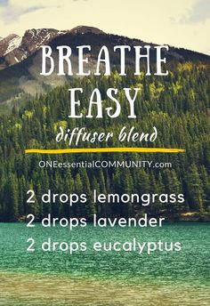 breathe Easy essential oil diffuser blend recipe to ease congestion and help you breathe -- plus 15 other great spring essential oil diffuser blend recipes