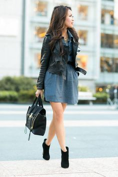 San Francisco :: Chambray Dress & Suede Details by Wendy's Lookbook