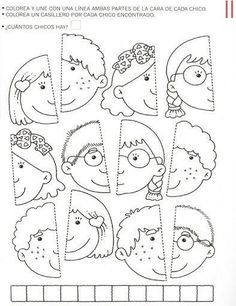 Use this for my younger students in the style of the puzzle piece group project.kinder, blank faces have students draw themselves and color or paint with watercolor? Learning Activities, Preschool Activities, Kids Learning, Social Emotional Activities, Folder Games, Kindergarten Worksheets, Kids Education, Early Childhood, Kids And Parenting