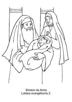 Simeon And Anna Coloring Page Luke 2 Lectionary Year C Sunday In Christmas