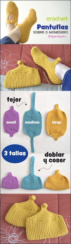 New crochet paso a paso pantuflas Ideas Crochet Baby Hats, Crochet Slippers, Crochet Beanie, Knit Crochet, Crochet Edging Patterns, Granny Square Crochet Pattern, Crochet Edgings, Knitting Socks, Baby Knitting