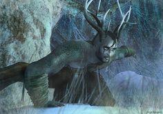 Wild Hunter of the Horned Goddess Yule: The Horned God rises by Freyja-M on deviantART Herne The Hunter, Wild Hunter, Winter Solstice, Gods And Goddesses, Yule, Deities, Faeries, Fantasy Art, Lion Sculpture