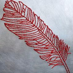 Feather aluminum and wood embroidery by VonEsteban on Etsy, $125.00