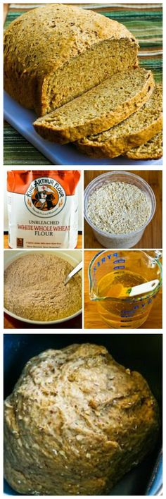 I don't eat a lot of bread, but when I'm having guests I love to make this Bread Machine 100% Whole Wheat Bread with Oats, Bran, and Flax Seed.  And there's nothing like the small of baking bread to make dinner a success!  [found on KalynsKitchen.com]