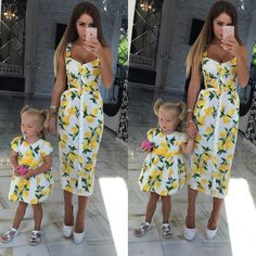 42411772f06088 How to Find Mommy and Me Matching Outfits for Spring. Lemon Print DressCouple  OutfitsBeautiful Summer DressesMother Daughter ...