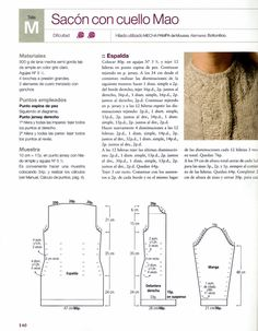Patron para tejer un Abrigo tipo Sacon con cuello Mao   iknitts.com Lana, Sewing, Pattern, Shopping, Weaving Patterns, Knitting Stitch Patterns, Pimples, Spinning, Breien