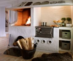 Our best selling wood stove, The Småland Stove Traditional design but with modern combustion technology. Beautiful Kitchen Designs, Beautiful Kitchens, Dream Kitchens, Courtyard House, Home Technology, Cooking Gadgets, Scandinavian Home, Booth Design, Home Repair