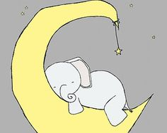 Nursery Art Baby Elephant Moon and Stars by SweetMelodyDesigns