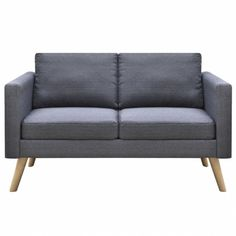Retro Living Room Sofa Grey Couch Cushion Fabric Covers Loveseat Furniture SALE