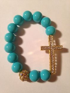 Turquoise sideways cross bracelet beaded great by AAAccessorize, $8.00