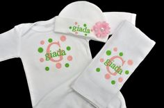 Matching Embroidered Polka Dot Baby Gown by AddieKakesKreations, $41.50