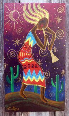 Female Kokopeli on wood panel. Southwest Art Painting, by Woodruff, SC artist, Cathy Lees