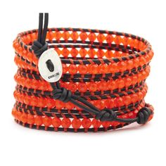 Neon Orange Wrap Bracelet on Natural Black Leather