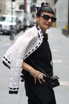 Fabulous Chanel jacket - not sure if it's all crochet or knit with a crochet edging? Being rocked by Maryann on the Advanced Style blog.