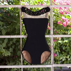 ECLIPSE Luckyleo Dancewear ballet bodysuit in black, nude mesh, and scroll