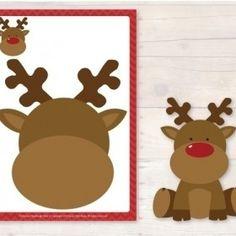 Christmas Playdough Mats Reindeer face