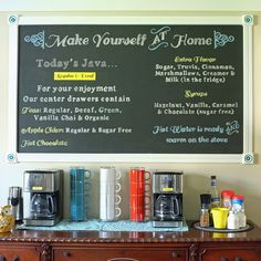 Be Inspired: An Inviting Home Saw this and thought it really neat and practical--we often have a pot of coffee on and I like designated spot where it all resides, with instructions, old and new ( the chalkboard idea and old furniture-with projector lettering help and modern appliances)