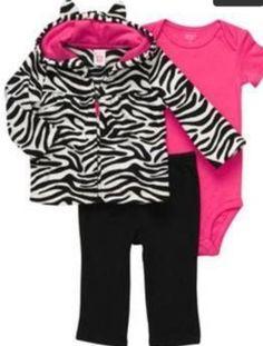 NEW BABY GIRL 3-PIECE MICRO SET CARTERS ZEBRA PRINT/Pink 12 MO! + Free EUC Socks