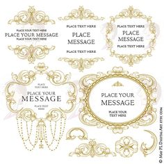Vintage Frame Clipart Antique Gold Baroque Flourish Swirls Ornamental Decoration Digital Border DIY Wedding Scrapbook Craft Supply 10672 #AntiqueGoldFrame #RetroFrames #VintageDesigns