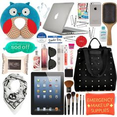 """Danielle inspired ""What's in your bag?"": Airplane Edition."" by kaerose13 on Polyvore"