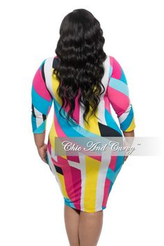 New Plus Size Long Sleeve BodyCon Dress w/ Neck Tie in Color Block White, Pink and Blue Print