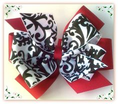 Pinwheel Hair Bow  Damask & Red Layered by RufflesRibbonsNBows