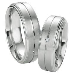 Vanda Silver & Diamonds - 925 Silber platiniert Partnerringe Vanda Silver and Diamond mit 0,015 ct Brillanten bei dem Damenring. By verlobungsring.de #diamond #silber #hochzeit