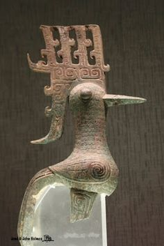 Birds in bronze from SanXingDui where is the name of an archaeological site of Bronze Age culture. Sanxingdui is believed to be the site of a major ancient Chinese city in what is now Sichuan, China.
