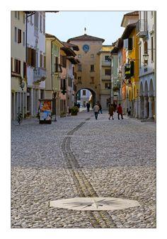 This is Corso Roma, de central area where cars r forbidden in Spilimbergo town in left side of Tagliamento River, Pordenone, Friuli-Venezia Giulia_ Italy