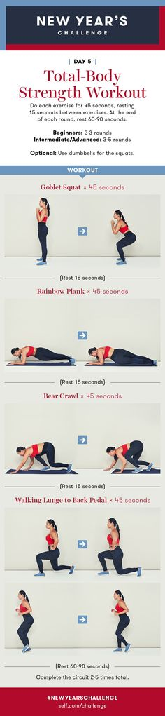 Total-Body Strength Workout: New Year's Challenge - Day 5 - Fitness Tips, Fitness Motivation, Health Fitness, Fit Board Workouts, At Home Workouts, Body Workouts, Cleaning Workout, Lunges, Squats
