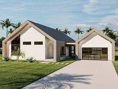 050H-0411: Contemporary Ranch House Plan; 1499 sf Modern Barn House, Modern House Plans, Modern Floor Plans, Modern House Design, Garage Floor Plans, House Plans With Garage, Gable House, Ultra Modern Homes, Best House Plans