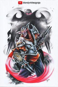 League of Legends traditional drawing - Zed Fantasy Warrior, Fantasy Art, Lol Champ, Bambi, Zed League Of Legends, Watercolor Pencil Art, Cool Art, 1, Warwick Rework