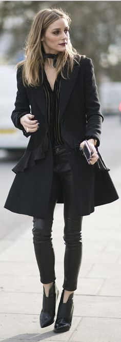 Who made Olivia Palermo's striped velvet black top, ankle boots, leather skinny pants, and ruffle coat?