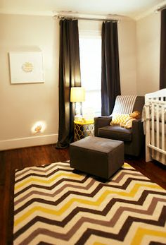 Nursery Design with chevron pattern in grey and yellow.  Marie Flanigan Interiors