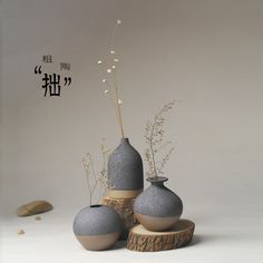 Jingdezhen Ceramic Japanese minimalist flower ornaments decorations home furnishings fashion creative three-piece vase - Taobao