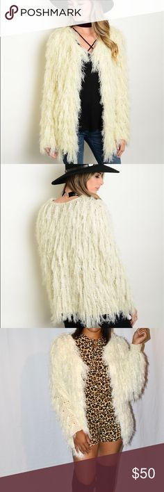 NEW ARRIVALFaux Fur Sweater Long sleeve ivory open front faux fur sweater cardigan with one hook closure Boutique Sweaters Cardigans