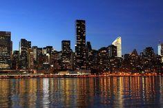 New, York, City, Skyline, Night, Lights, River