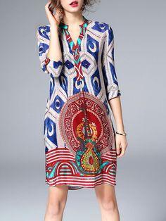Shop Midi Dresses - Multicolor Silk Printed Boho Midi Dress online. Discover unique designers fashion at StyleWe.com.