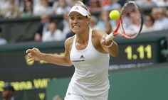Angelique Kerber plays a forehand return to Serena Williams.