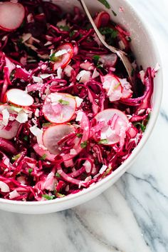 Pink Coconut Slaw This hot pink slaw recipe is totally irresistible, thanks to—surprise—coconut! If you like coconut, you're going to love this nutrient-dense coleslaw.Irresistible Irresistible may refer to: Vegetarian Salad Recipes, Radish Recipes, Slaw Recipes, Healthy Recipes, Healthy Food, Healthy Side Dishes, Side Dish Recipes, Ceviche, Guacamole