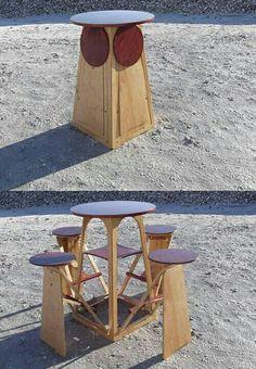 Mesa con bancos Plegables