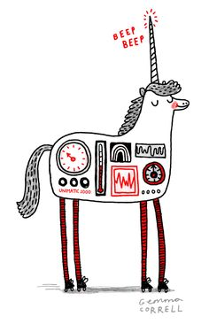 robotunicornblog:  Here's the animated GIF of the RU by Gemma Correll which I posted earlier. It's a very happy, jolly unicorn, and is now even happier and jollier that it can move!
