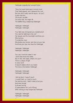 alleluia lyrics google search - Christmas Hallelujah Lyrics