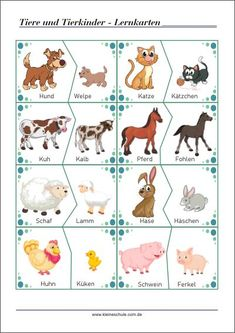 Animals and their children: flashcards - reading and language support for preschool and . - Animals and their children: flash cards – reading and language support for preschool and elementa - Kindergarten Classroom, Kindergarten Activities, Classroom Themes, Preschool Themes, Preschool Crafts, German Language Learning, Animal Crafts For Kids, Learn German, Farm Theme